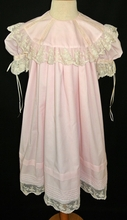 Heirloom Girl's Dress with Round French Lace Portrait Collar, Skirt Pintucks and Lace Hem