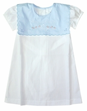 Dondolo Blue Embroidered Scalloped Collar White Float Dress