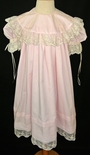 Heirloom Girl's Dress in Pink with Round French Lace Portrait Collar, Skirt Pintucks and Lace Hem