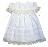 Heirloom Girl's Dress in Pink with Square Collar, French Lace and Satin Ribbon