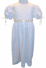 AVAILABLE FOR AFTER EASTER <BR>Pure Elegance Heirloom Girl's Dress with Lace Trimmed Bodice, Beading and Satin Ribbon with Tie Back Ribbon Sash