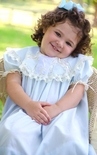 Heirloom Girl's Dress with Round Lace, Swiss Bows Insert and Satin Ribbon Collar