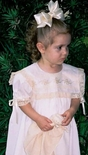 Heirloom Girl's Dress with Square  Lace and Horizontal Swiss Bows Insert Collar