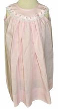IN STOCK!<br>Heirloom Girl's Pink Linen Dress with Satin Ribbon and Eyelet Lace