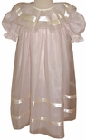 Heirloom Pink Dress with Ecru Organza Overlay and Satin Ribbon for Portraits and Special Occasions