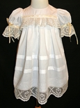 Heirloom Girl's Dress with English Netting Trimmed Bodice, Pintucks and Satin Ribbon
