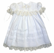 LaJenns Heirloom Girl's Dress with Lace Trimmed Bodice, Pintucks and Satin Ribbon