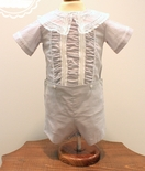 Heirloom Thomas Button On in White with Ecru French Lace and Ruching