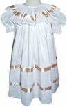 Heirloom White Dress with Ecru Satin Ribbon for Flower Girls, Portraits, Holidays, and Special Occasions
