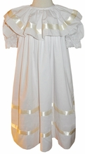 Heirloom Girl's Dress in White with Strasburgesque Ecru/Ivory Satin Ribbon Gathered Collar