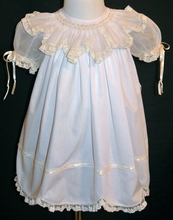 Heirloom Dress in White with Organdy Smocked Collar and Pearls