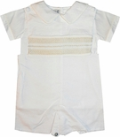 Highland Porch Boy's White Smocked Romper and Shirt with Ecru Embroidery
