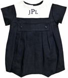 Baby Boy Navy Bubble Sunsuit with White Collar by Jack & Teddy