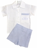 Boy's Blue Linen Personalized Shorts Set by Jack & Teddy