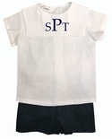 Boy's Navy Shorts & Personalized White Square Collar Shirt by Jack & Teddy