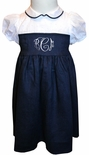 Jack & Teddy Navy Peter Pan Collar Monogrammable Dress with Sash and Bow