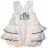 Personalized Baby Girl's Bubble Sunsuit in White with Navy Trim by Jack & Teddy