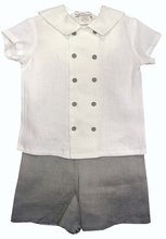 IN STOCK! <br>Jack & Teddy White and Grey Double Breasted Eton Suit