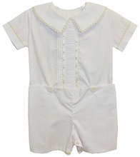 LaJenns Boy's Heirloom Button On with Peter Pan Collar and Vertical Ruching