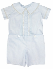 IN STOCK <br>LaJenns Boy's Heirloom Button On with Peter Pan Collar and Vertical Ruching