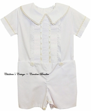 Heirloom Button On or Blouse over Shorts with Peter Pan Collar and Vertical Ruching