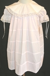 LaJenns Heirloom Pink Dress with Ribbon and Lace Round Collar and Pintucks