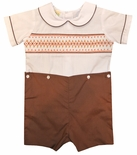 Le Za' Me Boy's Fall Brown with Orange Accents Smocked Button On