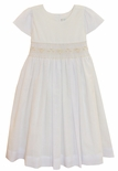 Le' Za Me Heirloom Smocked Dress in White Voile with Ecru Embroidery