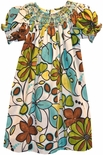 Le' Za Me Smocked Dress in Safari Floral Print.