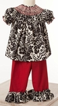 Le' Za Me Smocked Black and Red Pants Set