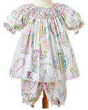 "Le' Za Me Smocked Bloomers Set in ""Tea Party"" with Tea Cups and Tea Pots"