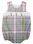 Le' Za Me Smocked Bunny Bubble in Easter Plaid for Boys.