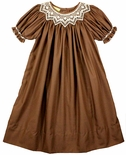 Le' Za Me Smocked Dress in Brown for Fall and Winter