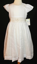 IN STOCK! <br>Girl's Heirloom Smocked Waist Dress in White with Ecru/Ivory Underlay and Embroidery and Sash