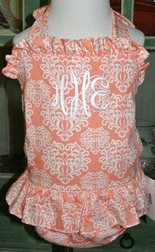 LeZaMe 1 Piece Monogrammable Swimsuit in Melon Coral Damask