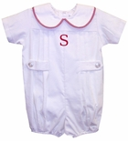 Boy's Monogrammed Christmas Winter Bubble in White Corduroy