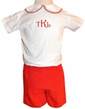Boy's Monogrammed Christmas Outfit, White Shirt, Red Shorts