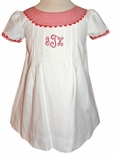 Girl's Monogrammed Dress for Winter in White, Red Corduroy