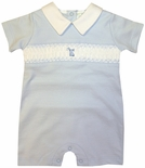 Maria Elena Baby Threads Boy's Blue Pima Cotton Smocked Shortall with Bunny