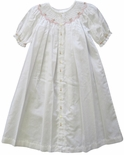 Girl's Smocked Day Gown In White And Pink By Maria Elena.