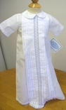 Baby Boy's White Day Gown With Blue Embroidery By Maria Elena.