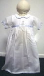 Baby Boy's Smocked White Day Gown With Blue Sailboats