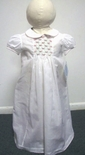 Baby Girl's Smocked White Day Gown With Pink Green Embroidery