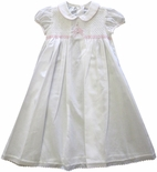 Baby Girl's Smocked White Day Gown With Pink Bow By Maria Elena.