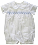 Boy's Smocked Bubble in White With Blue By Maria Elena.