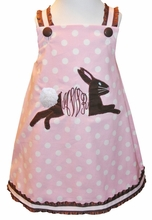 Monogram Bunny Rabbit Dress or Outfit with Fluffy Boa Tail