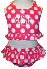 Monogrammable Girl's 2 Piece Swim Suit in Hot Pink with White Dots