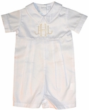 Monogrammed Boy's Shortall in White for Baby and Toddler Boys