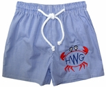 Monogrammed Boy's Royal Blue Gingham Swimsuit by Vive La Fete