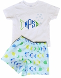 "Monogrammed Fish Outfit for Boys in ""Don't Be Crabby"" Fabric"